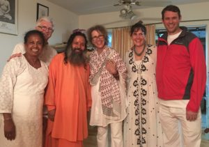 From left: Judy Peterson, Yogacharya Richard Peterson, Paramahamsa Prajnanananda, Marydale, Kate Erickson, and William Erickson